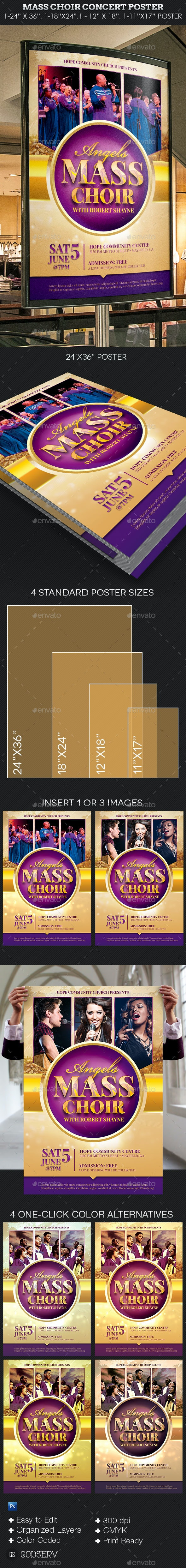 Mass Choir Concert Poster Template - Signage Print Templates