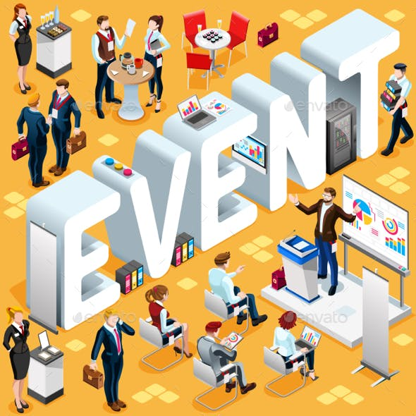 Isometric People Event Icon 3D Set Vector Illustration