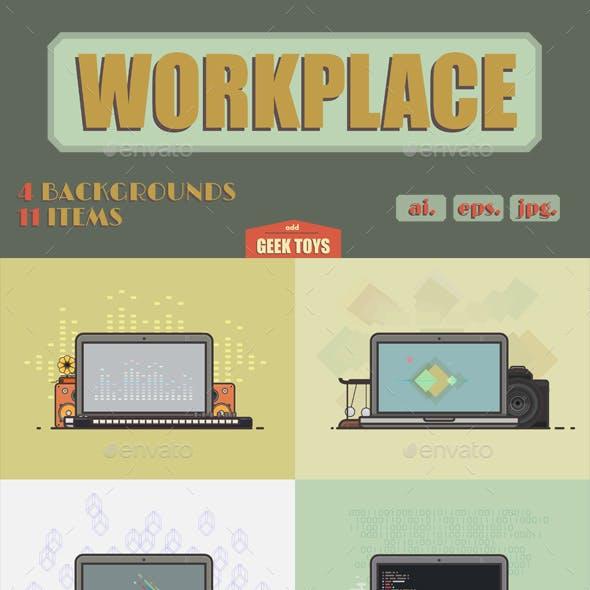 Vector Flat Illustration Set of Workspaces Concept