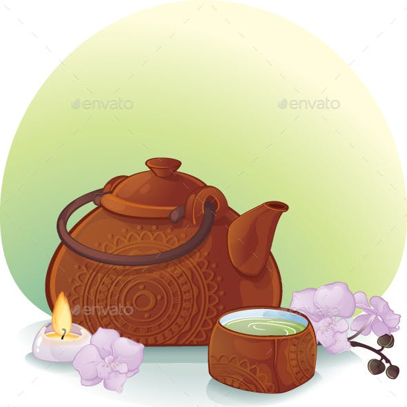 Tea Ceremony Illustration with a Ceramic Teapot and Orchid Flowers
