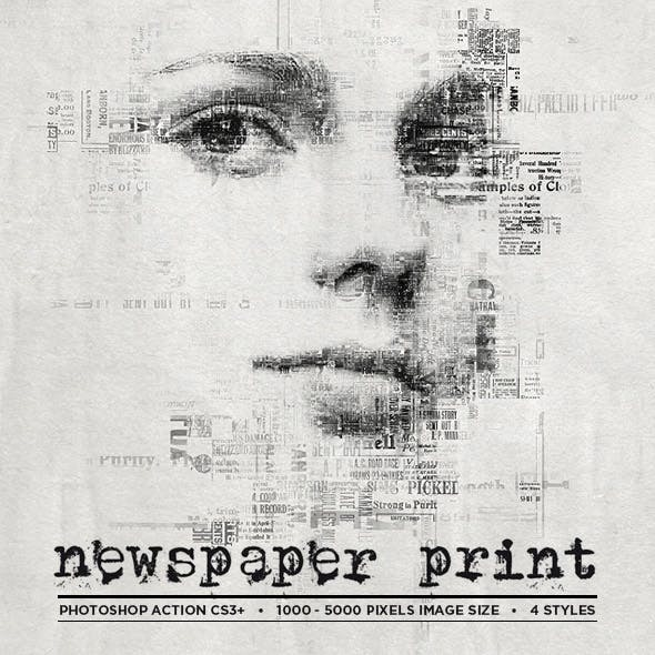 Newspaper Print Photoshop Action CS3+