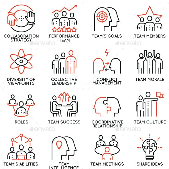 Team Work and Career Training Icons