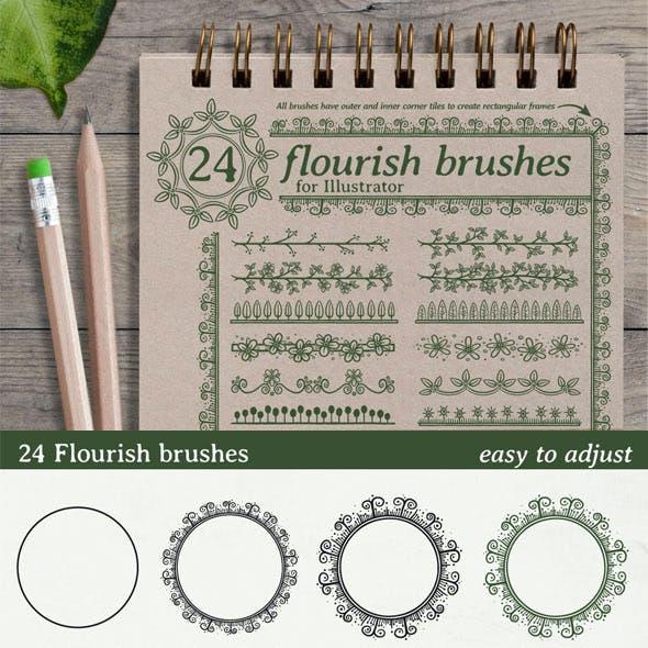 24 Flourish Brushes