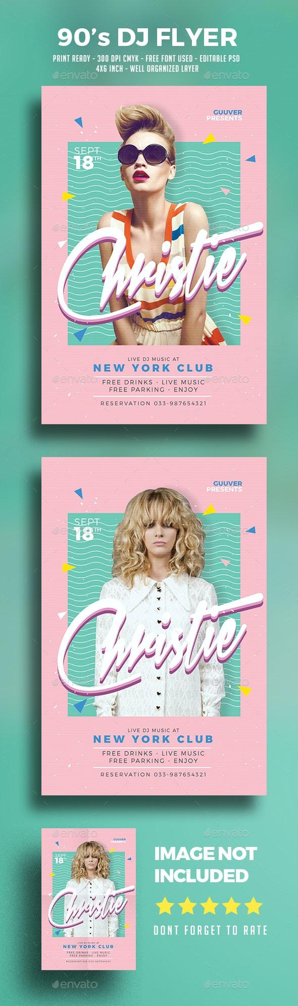 90's DJ Flyer - Clubs & Parties Events
