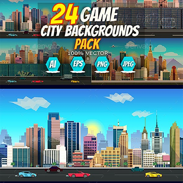 24 City Game Backgrounds Pack