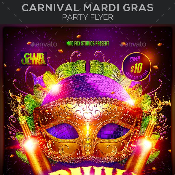 Carnival Mardi Gras Party Flyer
