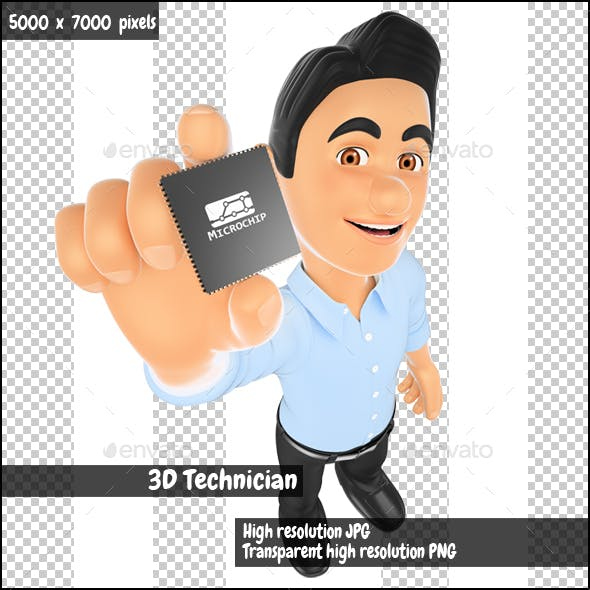 3D Information Technology Technician Showing a Microprocessor