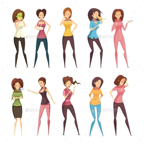 Sickness Woman Retro Cartoon Icon Set