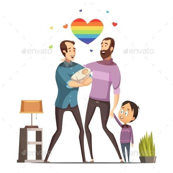 Gay Loving Family Retro Cartoon Illustration