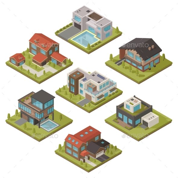 Isometric House Icon Set