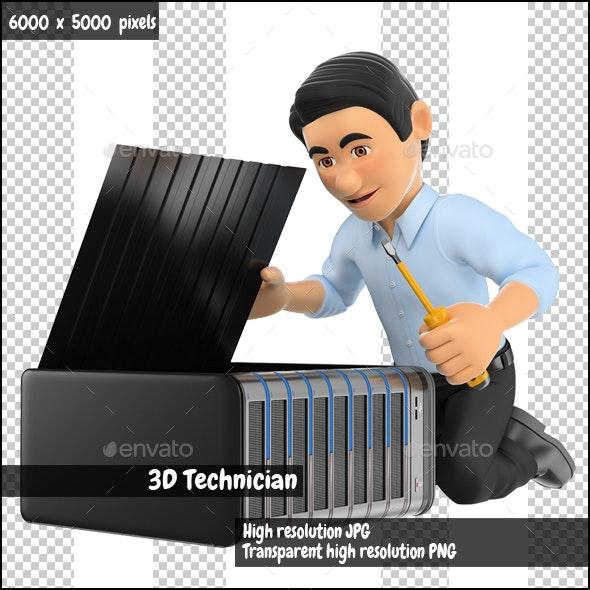 3D Information Technology Technician Repairing a Server - Characters 3D Renders