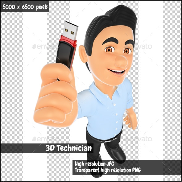 3D Information Technology Technician with a Usb Memory Stick - Characters 3D Renders