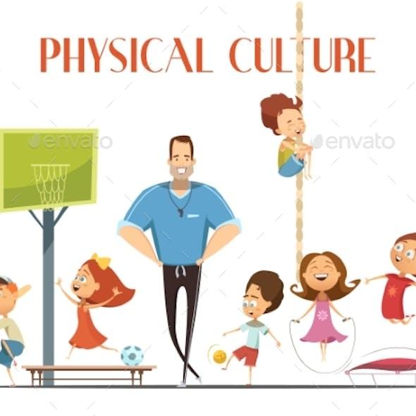 Physical Culture Lesson Retro Cartoon Illustration