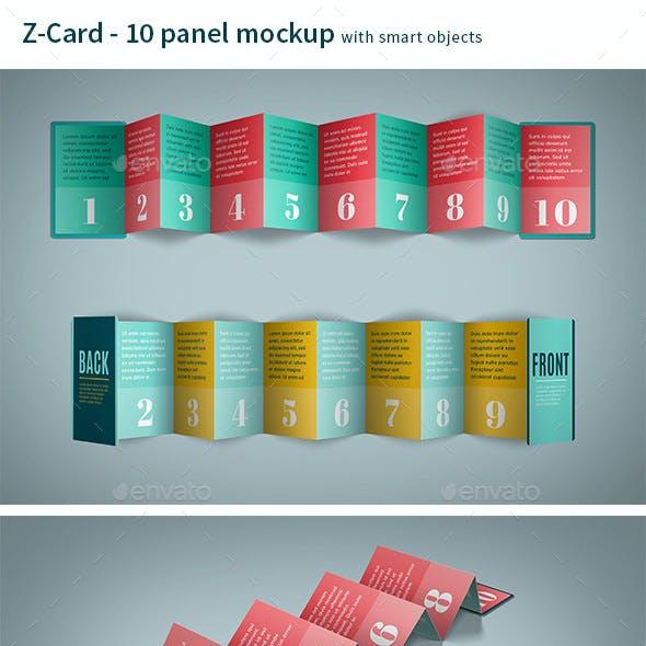 Z-Card Mock-up - 10 Panels C-Fold