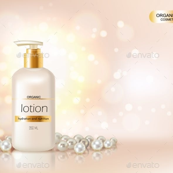 Pump Top Bottle With Organic Cosmetic Lotion