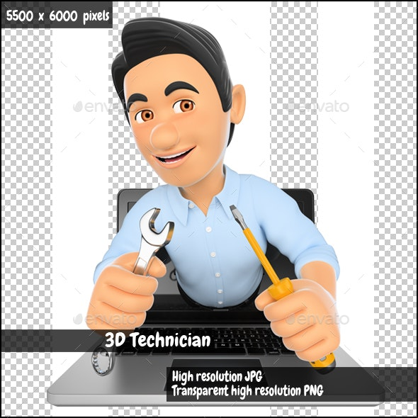 3D Information Technology Technician Coming Out a Laptop Screen with a Wrench and a Screwdriver - Characters 3D Renders