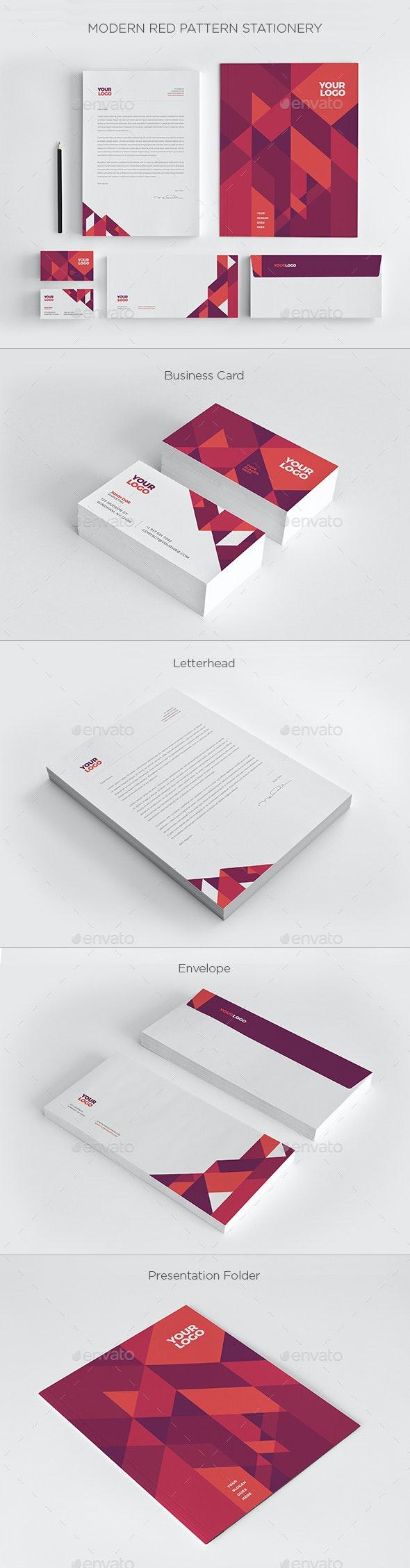 Modern Red Pattern Stationery - Stationery Print Templates