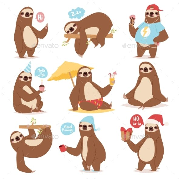 Laziness Sloth Animal Character Poses