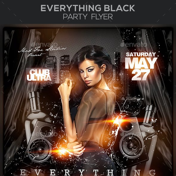 Everything Black Party Flyer