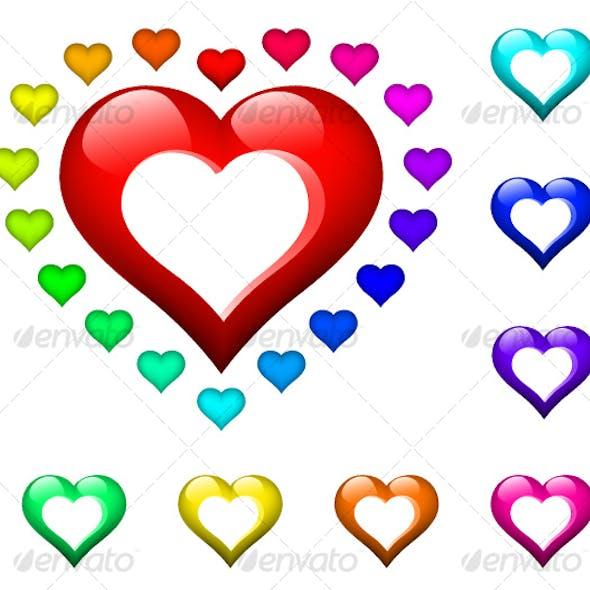 set of glossy hearts