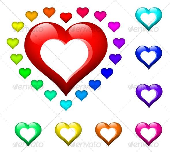 set of glossy hearts - Decorative Symbols Decorative