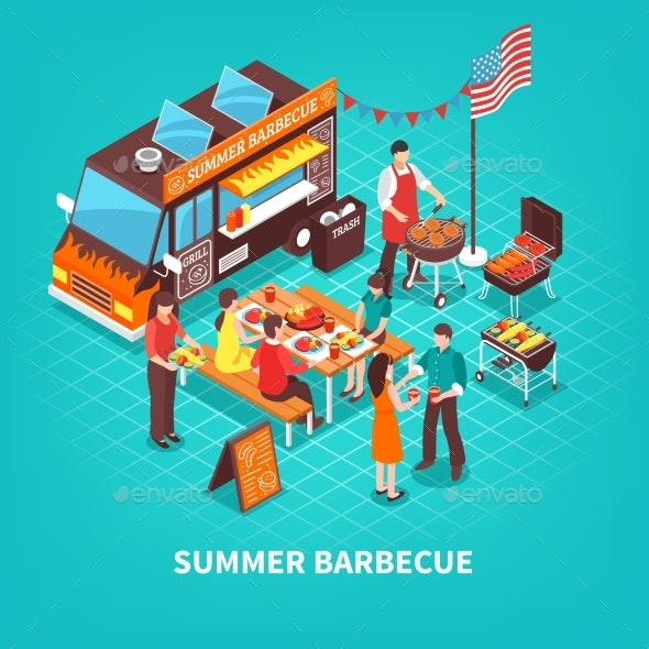 Summer Barbecue Isometric Illustration - Food Objects