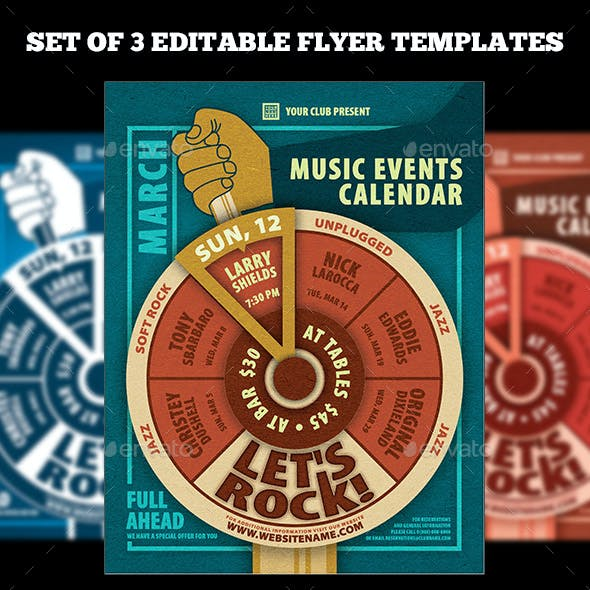 Music Events Calendar Poster Template