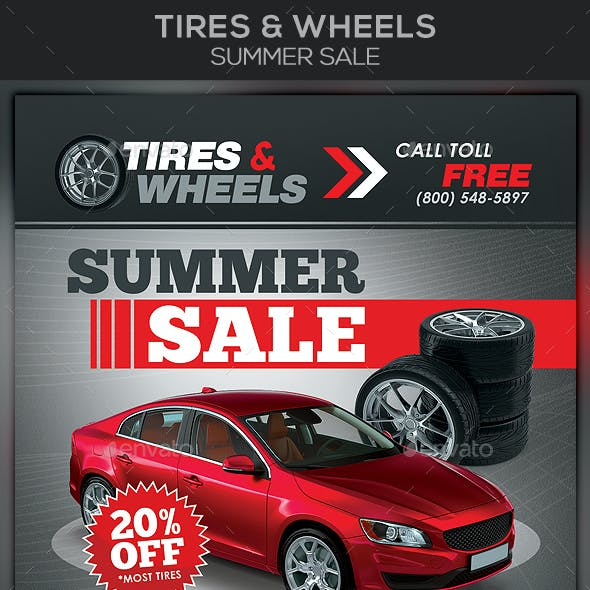 Tires & Wheels Summer Sale Flyer Template