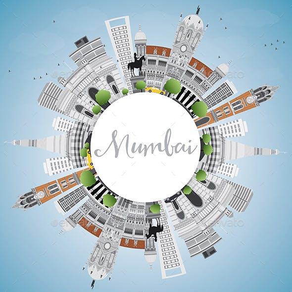 Mumbai Skyline with Gray Landmarks and Blue Sky