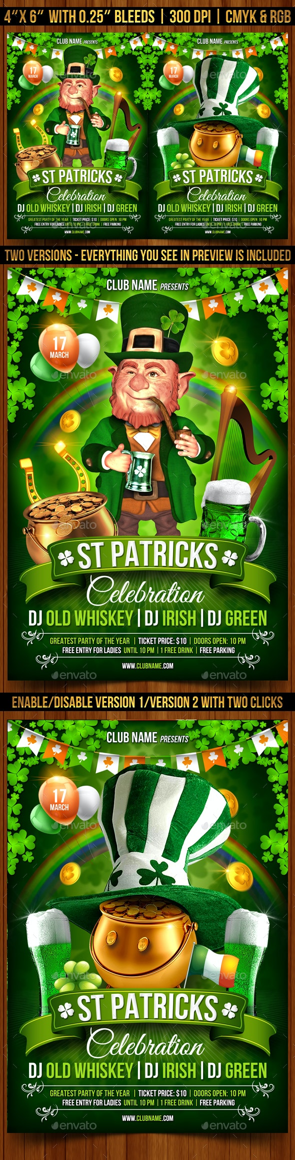 St. Patrick's Day Celebration Flyer Template - Clubs & Parties Events