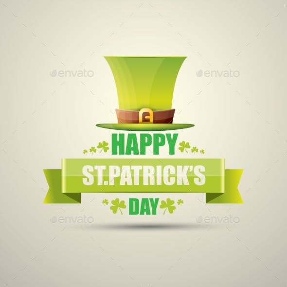 Vector Saint Patricks Day Label with Green Hat