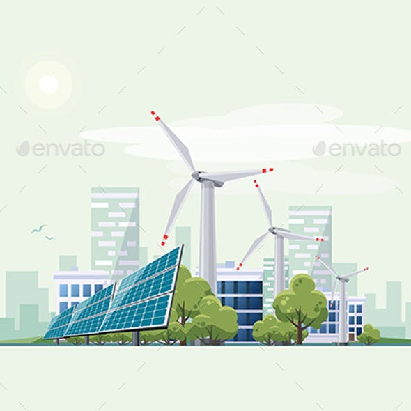 Green Eco City Urban with Solar Panels and Wind Turbines