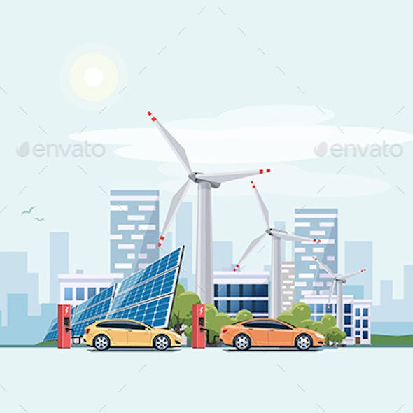 Electric Cars Charging Eco City