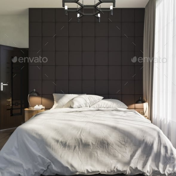 3d Illustration of Bedroom Interior Design