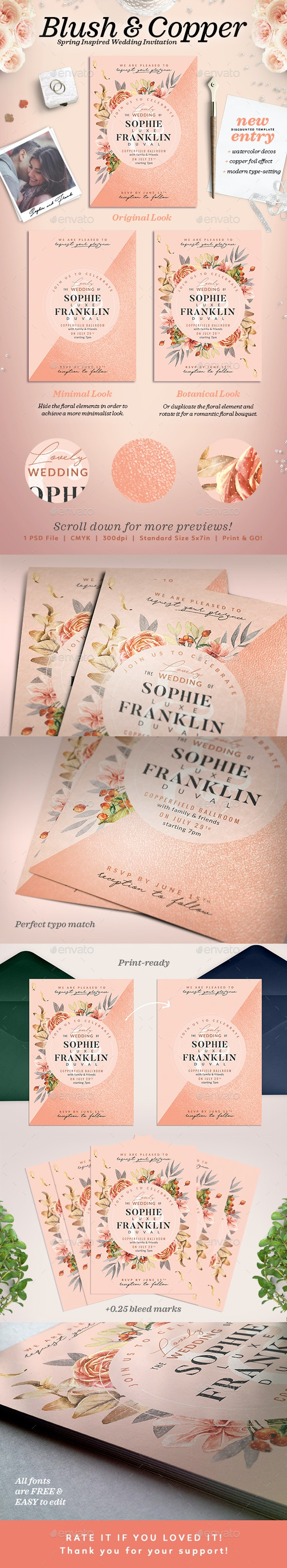 Blush Copper Wedding Invitation I - Wedding Greeting Cards