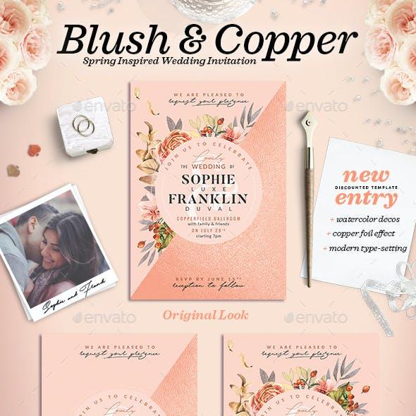 Blush Copper Wedding Invitation I