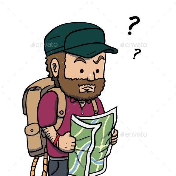 Lost Man Holding a Map