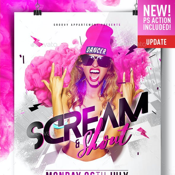 Scream & Shout Flyer Template + GIF Animation Action