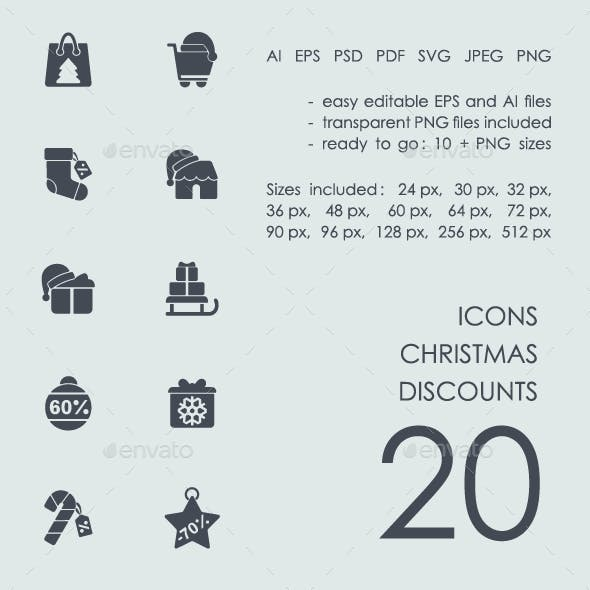 Christmas discounts icons