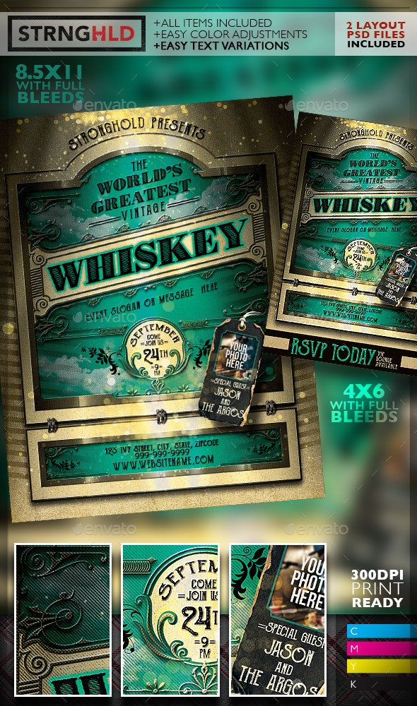 Vintage Whiskey Flyer Template - Clubs & Parties Events