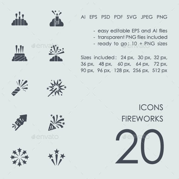 Set fireworks icons
