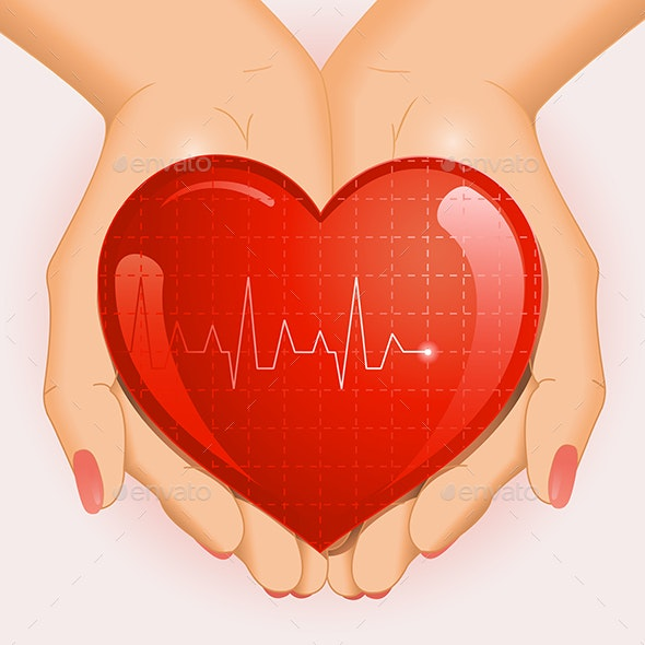 Medical Background with Heart in Hands - Health/Medicine Conceptual