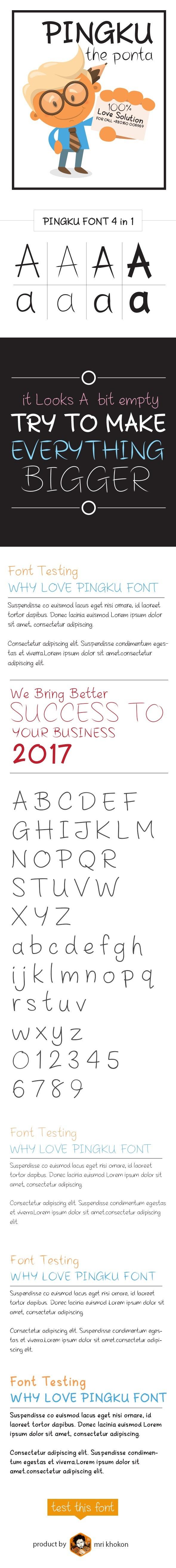 Pingku Font - Handwriting Fonts