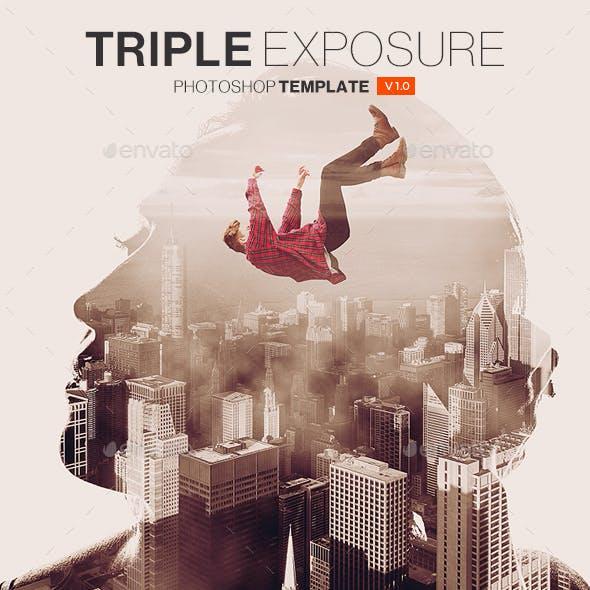 Triple Exposure Photoshop Template