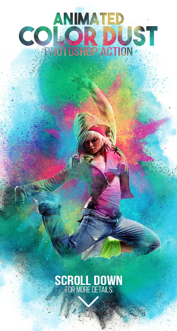 Animated Color Dust Photoshop Action - Photo Effects Actions