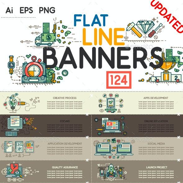 Set of Modern Flat Line Banners