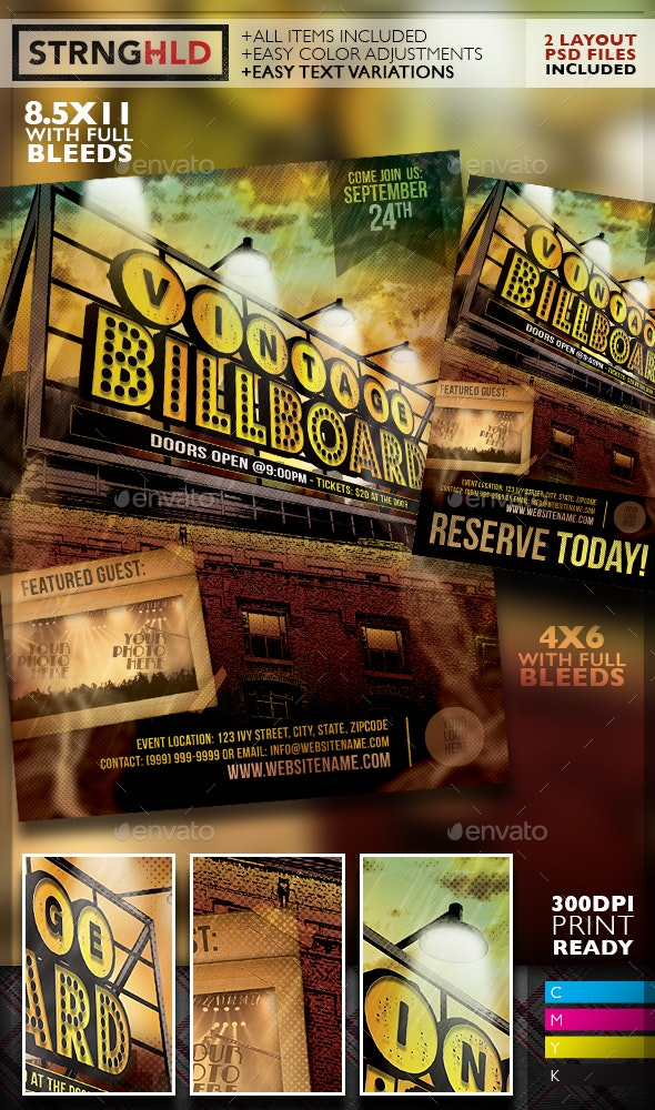 Vintage Billboard Flyer Template - Clubs & Parties Events
