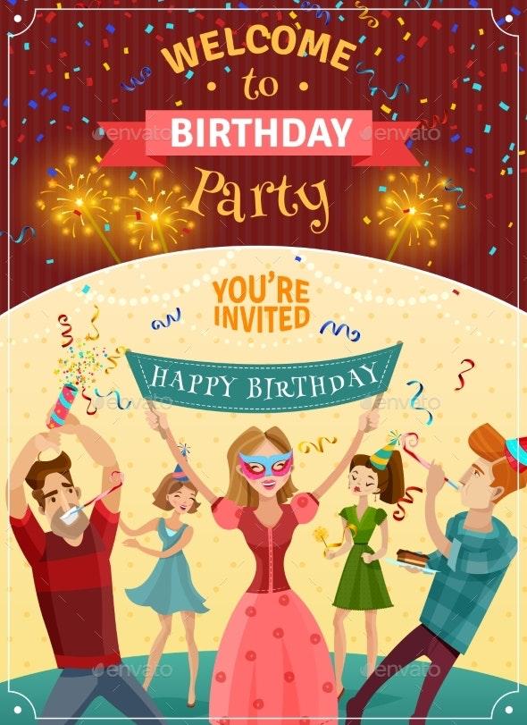 Birthday Party Announcement Invitation Poster - Birthdays Seasons/Holidays