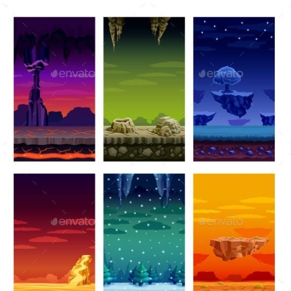 Colorful Background Landscape Cartoon Set