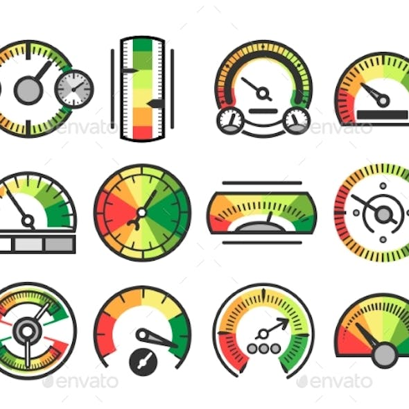 Measuring Guage Device Vector Icons